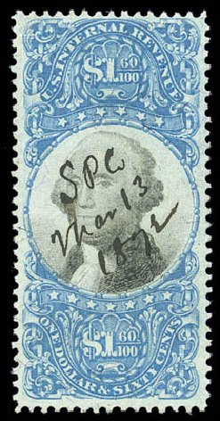 US Stamp Price Scott Catalog # R121: US$1.60 1871 Revenue Documentary . Matthew Bennett International, Sep 2010, Sale 333, Lot 4059