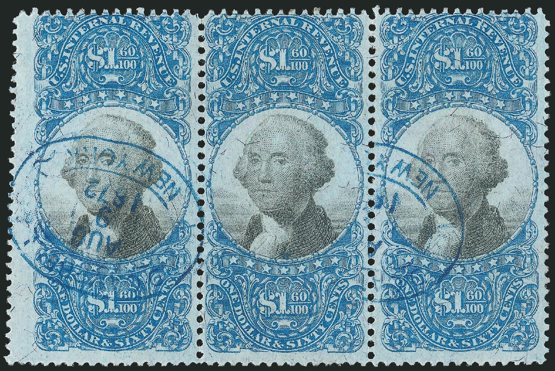 Price of US Stamp Scott Catalog R121: 1871 US$1.60 Revenue Documentary . Robert Siegel Auction Galleries, Jun 2015, Sale 1100, Lot 179