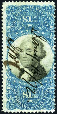 Cost of US Stamps Scott Cat. # R121: US$1.60 1871 Revenue Documentary . Harmer-Schau Auction Galleries, Aug 2011, Sale 90, Lot 1991