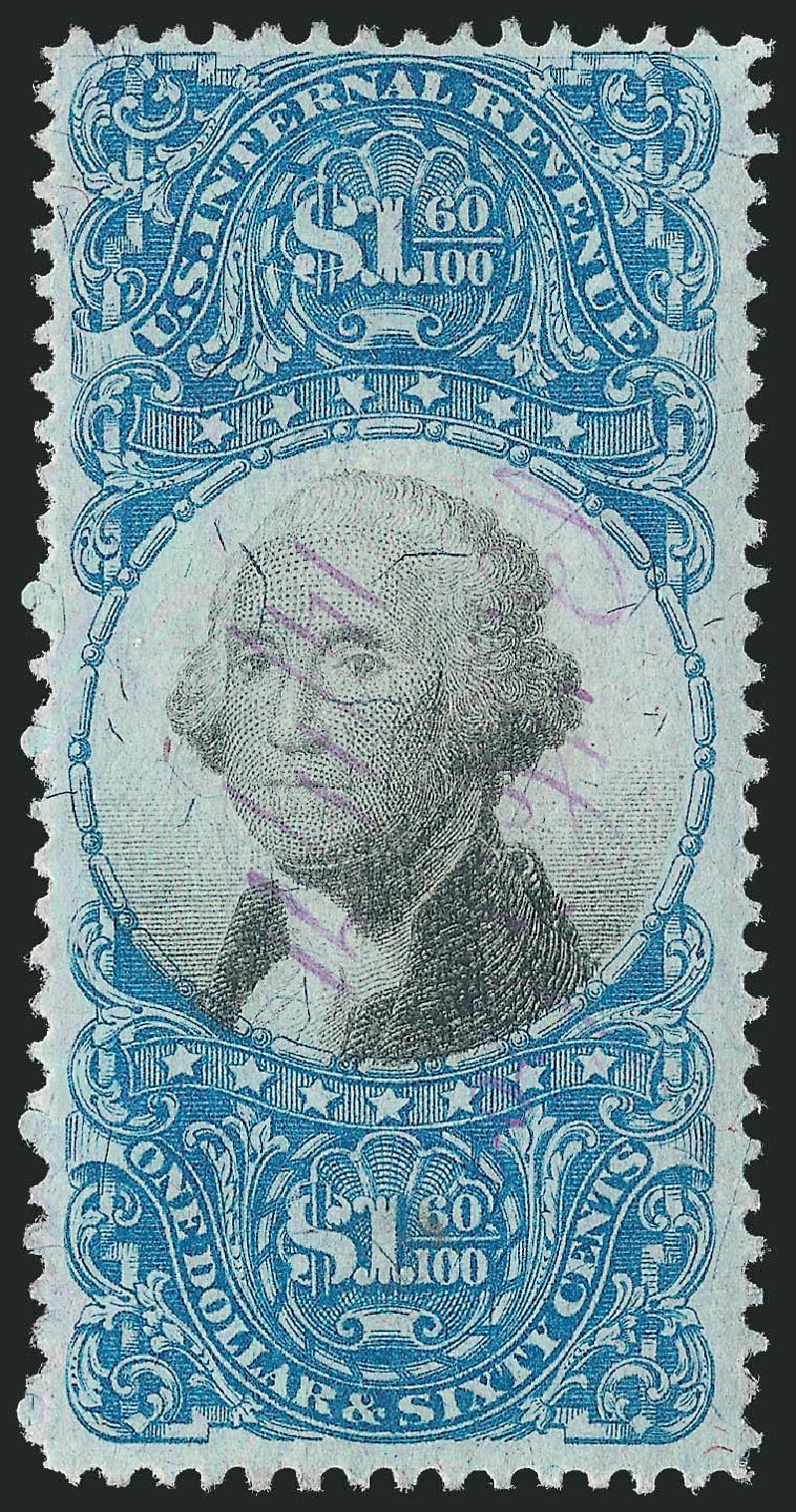 Values of US Stamp Scott Catalogue #R121: US$1.60 1871 Revenue Documentary . Robert Siegel Auction Galleries, Mar 2014, Sale 1067, Lot 552