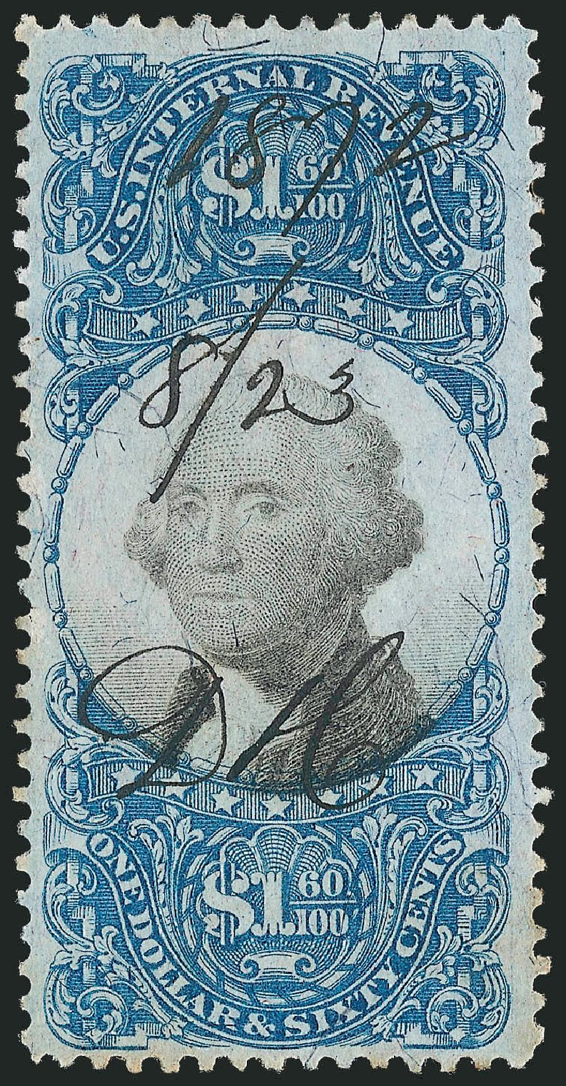 Value of US Stamp Scott Cat. # R121: US$1.60 1871 Revenue Documentary . Robert Siegel Auction Galleries, Oct 2010, Sale 997, Lot 6593