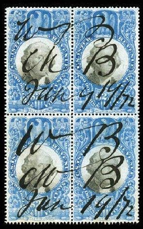 Values of US Stamps Scott Catalogue R124: 1871 US$2.50 Revenue Documentary . Matthew Bennett International, Feb 2012, Sale 340, Lot 632