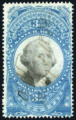 US Stamp Price Scott Catalog #R126 - 1871 US$3.50 Revenue Documentary . Harmer-Schau Auction Galleries, Feb 2010, Sale 84, Lot 1960