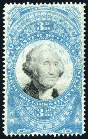 Cost of US Stamps Scott Catalogue R126 - 1871 US$3.50 Revenue Documentary . Harmer-Schau Auction Galleries, Feb 2010, Sale 84, Lot 1961