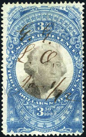 US Stamps Value Scott Catalogue #R126 - 1871 US$3.50 Revenue Documentary . Harmer-Schau Auction Galleries, Mar 2011, Sale 89, Lot 444