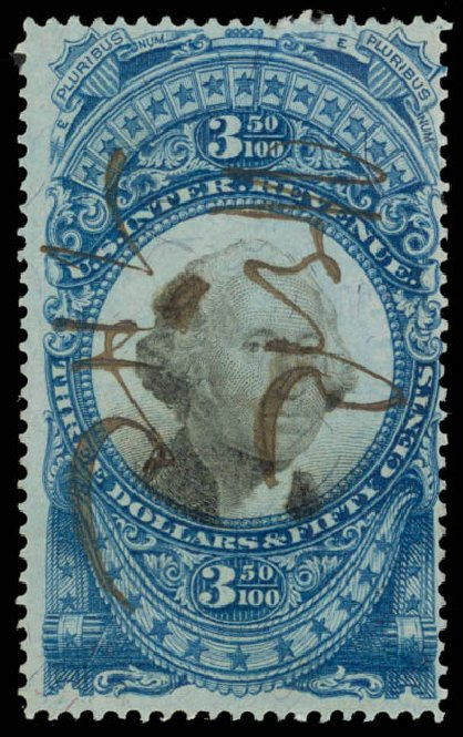 Value of US Stamp Scott Catalog #R126: 1871 US$3.50 Revenue Documentary . Daniel Kelleher Auctions, May 2015, Sale 665, Lot 174