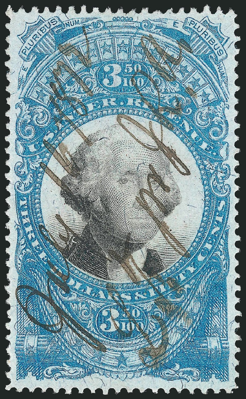 US Stamps Prices Scott Cat. R126: US$3.50 1871 Revenue Documentary . Robert Siegel Auction Galleries, Nov 2011, Sale 1015, Lot 84