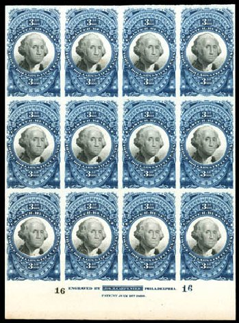 US Stamp Values Scott Cat. R126: 1871 US$3.50 Revenue Documentary . Matthew Bennett International, Dec 2008, Sale 330, Lot 2022