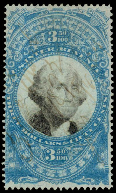 US Stamp Values Scott Catalogue # R126: 1871 US$3.50 Revenue Documentary . Daniel Kelleher Auctions, May 2015, Sale 665, Lot 173