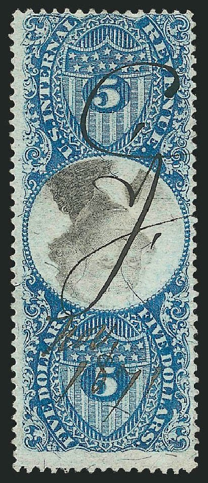 Values of US Stamps Scott Cat. #R127 - 1871 US$5.00 Revenue Documentary . Robert Siegel Auction Galleries, Mar 2011, Sale 1007, Lot 3127