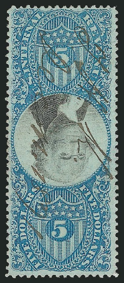 US Stamps Values Scott Catalogue # R127 - US$5.00 1871 Revenue Documentary . Robert Siegel Auction Galleries, Jun 2012, Sale 1025, Lot 279