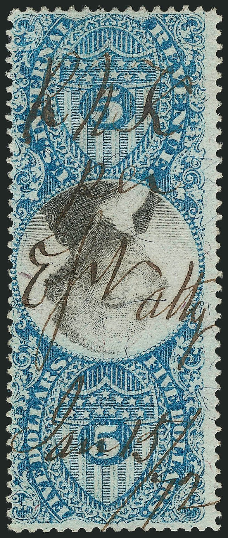 Value of US Stamps Scott Cat. #R127 - US$5.00 1871 Revenue Documentary . Robert Siegel Auction Galleries, Apr 2015, Sale 1096, Lot 989
