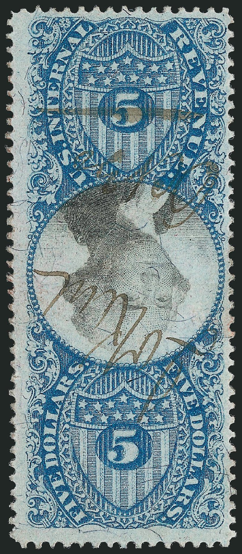 Prices of US Stamps Scott Catalog R127: 1871 US$5.00 Revenue Documentary . Robert Siegel Auction Galleries, Jun 2012, Sale 1025, Lot 280