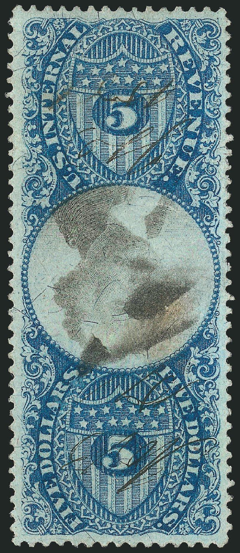 US Stamp Value Scott #R127: US$5.00 1871 Revenue Documentary . Robert Siegel Auction Galleries, Dec 2014, Sale 1089, Lot 490