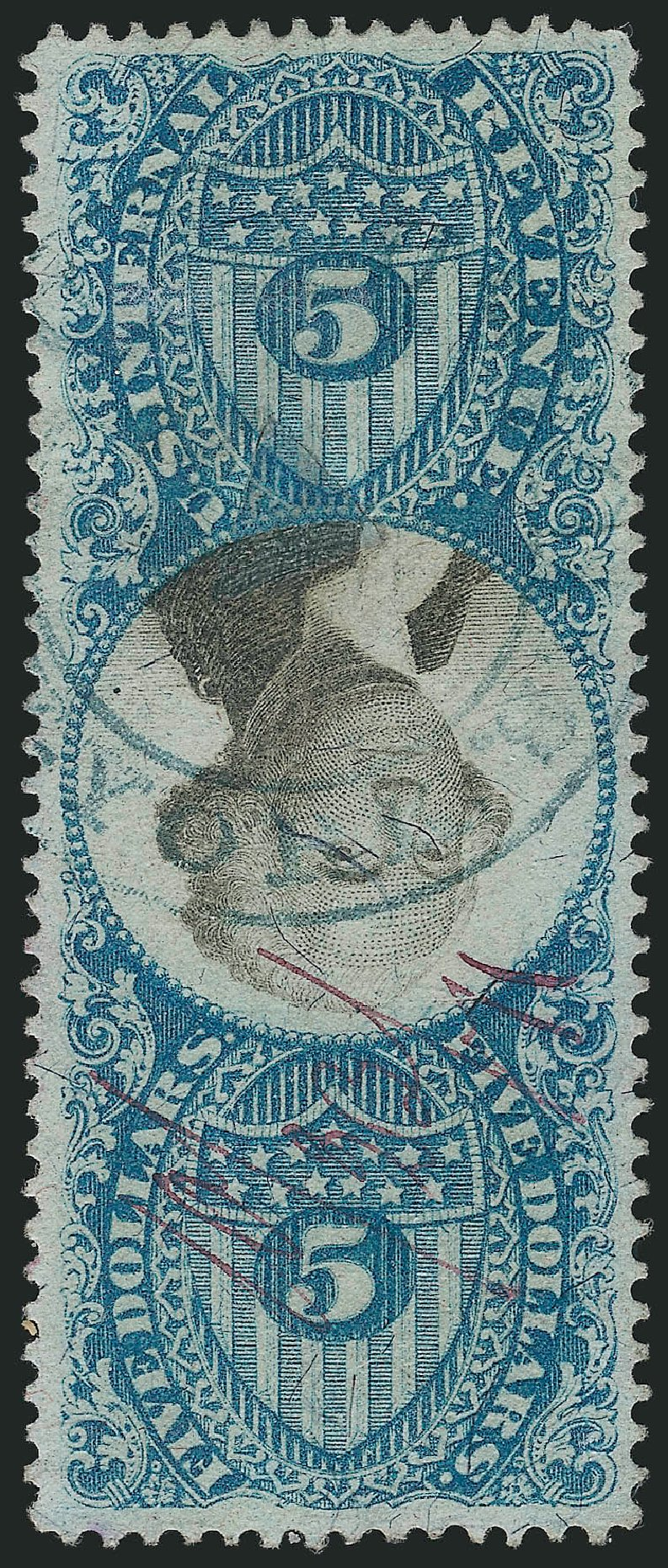 Price of US Stamps Scott Catalog #R127: 1871 US$5.00 Revenue Documentary . Robert Siegel Auction Galleries, Mar 2014, Sale 1067, Lot 564