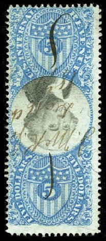 Value of US Stamps Scott Catalogue R127: 1871 US$5.00 Revenue Documentary . Matthew Bennett International, Feb 2012, Sale 340, Lot 633