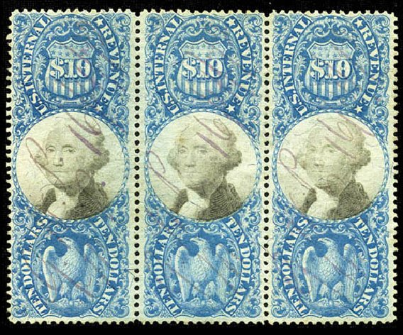 US Stamp Prices Scott R128: 1871 US$10.00 Revenue Documentary . Matthew Bennett International, Feb 2012, Sale 340, Lot 634