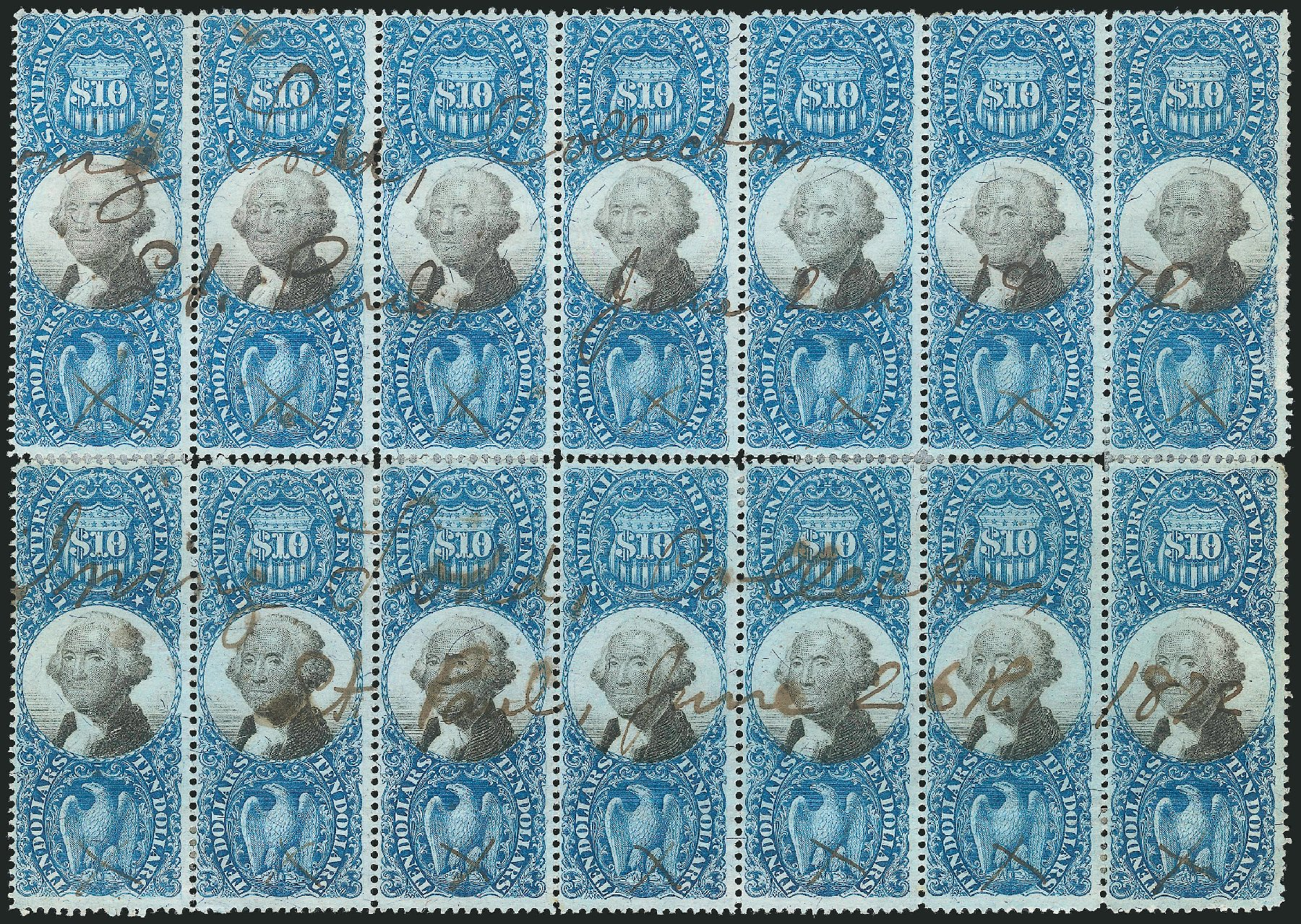 Costs of US Stamps Scott Cat. # R128 - US$10.00 1871 Revenue Documentary . Robert Siegel Auction Galleries, Dec 2014, Sale 1089, Lot 504