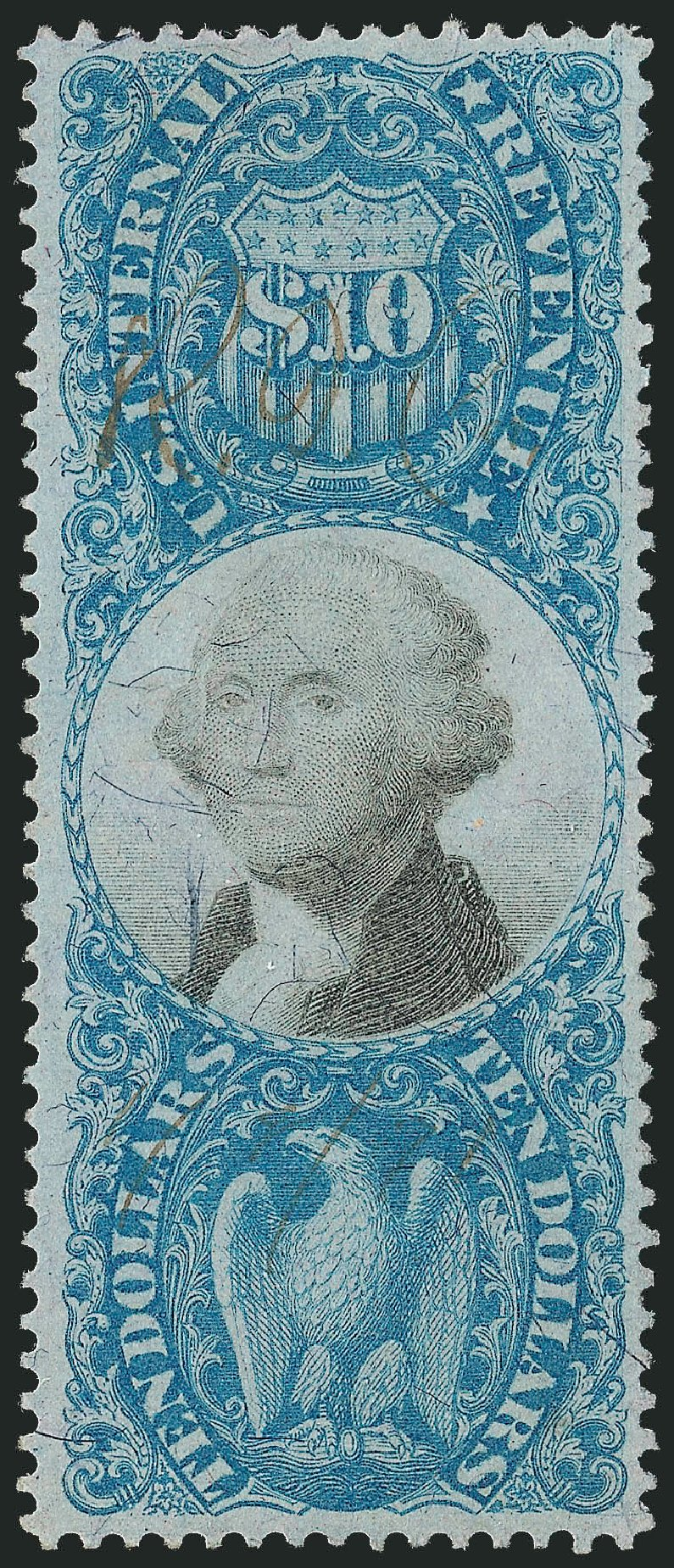 Cost of US Stamp Scott Catalog #R128 - US$10.00 1871 Revenue Documentary . Robert Siegel Auction Galleries, Dec 2009, Sale 978, Lot 1175