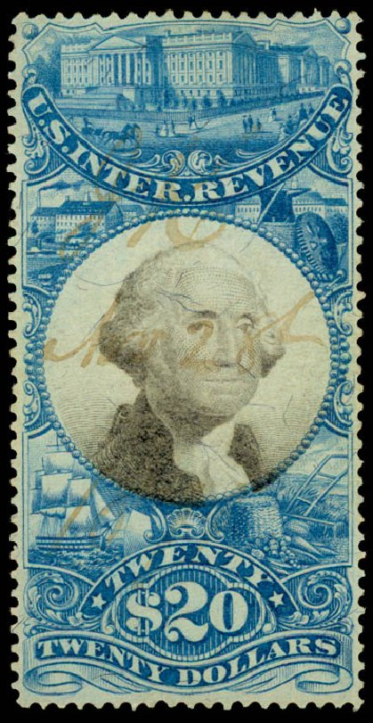 Values of US Stamps Scott Catalog # R129 - US$20.00 1871 Revenue Documentary . Daniel Kelleher Auctions, Jun 2015, Sale 670, Lot 39