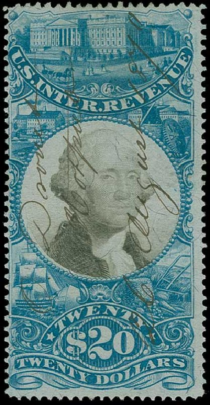 Value of US Stamps Scott Cat. #R129 - 1871 US$20.00 Revenue Documentary . H.R. Harmer, Jun 2015, Sale 3007, Lot 3550