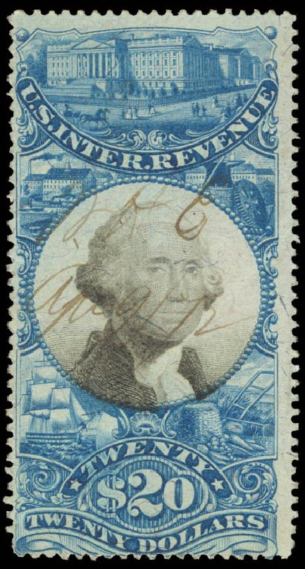 Cost of US Stamp Scott Catalogue R129: 1871 US$20.00 Revenue Documentary . Daniel Kelleher Auctions, Aug 2015, Sale 672, Lot 3080
