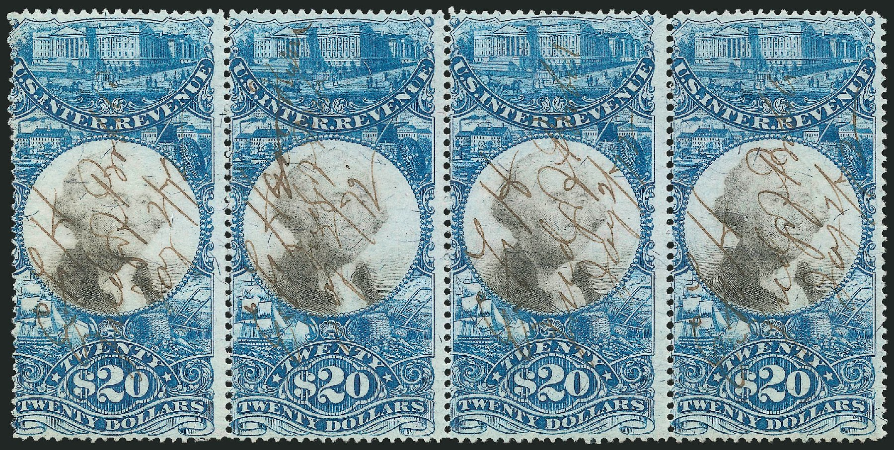 US Stamps Values Scott Catalog # R129: 1871 US$20.00 Revenue Documentary . Robert Siegel Auction Galleries, Jun 2015, Sale 1100, Lot 180