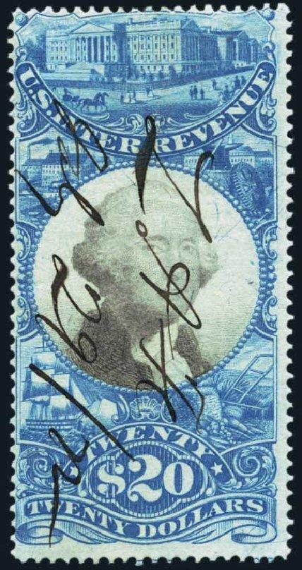 Values of US Stamps Scott R129: US$20.00 1871 Revenue Documentary . Harmer-Schau Auction Galleries, Oct 2013, Sale 99, Lot 281