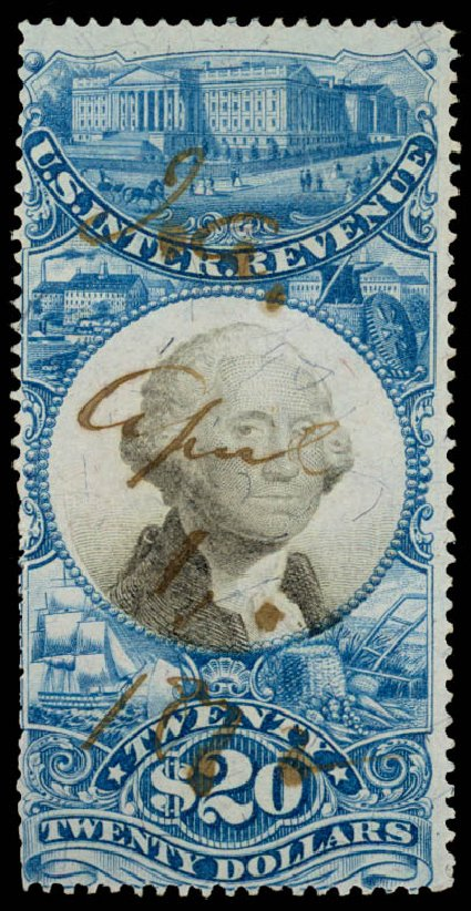 Cost of US Stamp Scott R129 - US$20.00 1871 Revenue Documentary . Daniel Kelleher Auctions, Aug 2015, Sale 672, Lot 3081