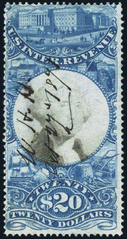 US Stamp Value Scott Catalog #R129 - 1871 US$20.00 Revenue Documentary . Harmer-Schau Auction Galleries, Jan 2014, Sale 100, Lot 714