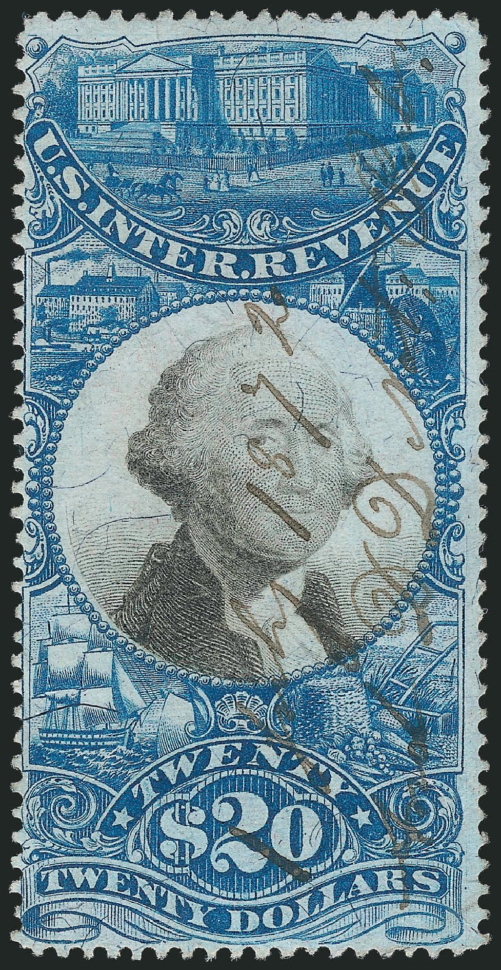 US Stamps Price Scott Catalogue R129 - US$20.00 1871 Revenue Documentary . Robert Siegel Auction Galleries, Nov 2013, Sale 1061, Lot 4305
