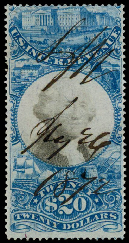 US Stamps Values Scott # R129 - 1871 US$20.00 Revenue Documentary . Daniel Kelleher Auctions, May 2015, Sale 665, Lot 176