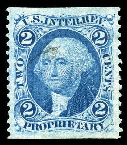 US Stamp Values Scott Cat. # R13 - 1862 2c Revenue Proprietary. Matthew Bennett International, Mar 2012, Sale 344, Lot 4832