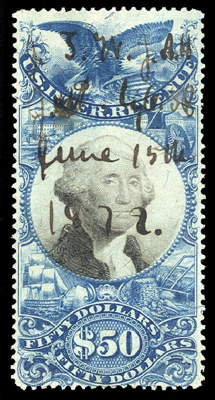 Costs of US Stamp Scott R130: 1871 US$25.00 Revenue Documentary . Cherrystone Auctions, Oct 2012, Sale 201210, Lot 200