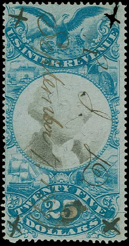 Value of US Stamp Scott Cat. #R130 - US$25.00 1871 Revenue Documentary . H.R. Harmer, Jun 2015, Sale 3007, Lot 3551