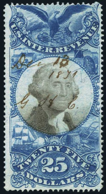 US Stamp Value Scott Catalogue #R130: 1871 US$25.00 Revenue Documentary . Harmer-Schau Auction Galleries, Jan 2014, Sale 100, Lot 715