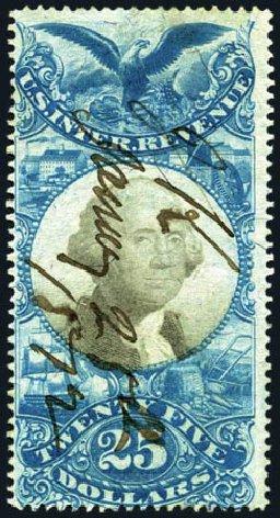 US Stamp Values Scott Catalog #R130 - US$25.00 1871 Revenue Documentary . Harmer-Schau Auction Galleries, Aug 2011, Sale 90, Lot 1993