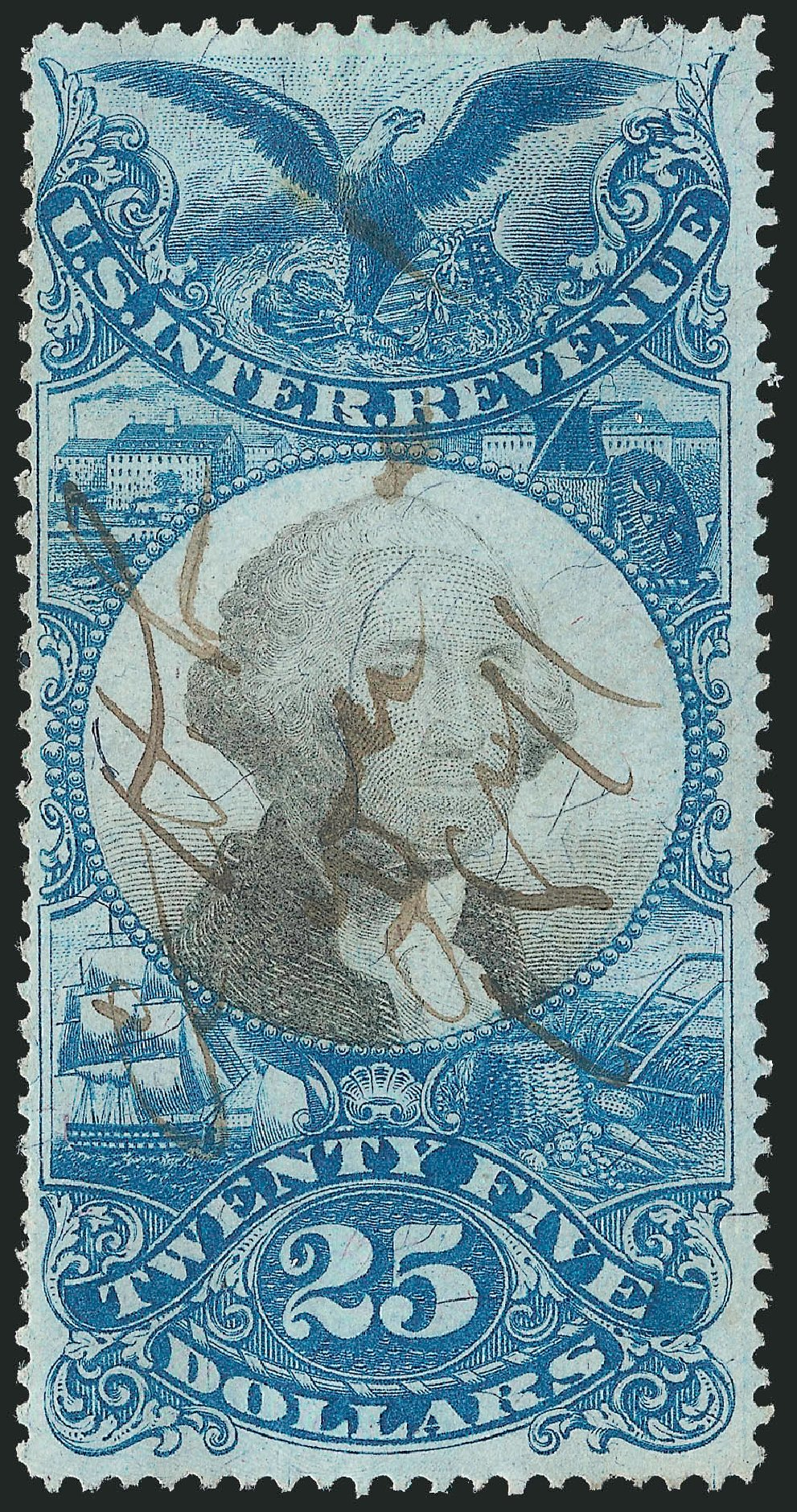 US Stamp Price Scott Catalogue R130: 1871 US$25.00 Revenue Documentary . Robert Siegel Auction Galleries, Mar 2014, Sale 1067, Lot 553