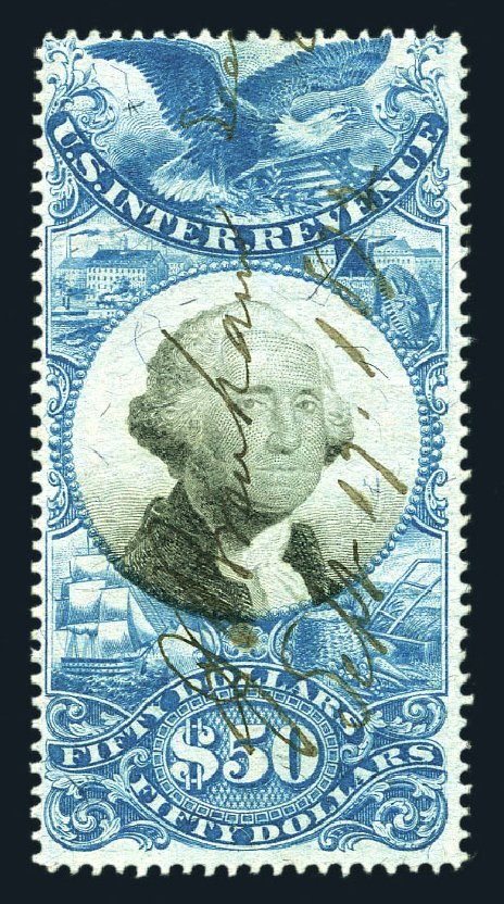 Price of US Stamps Scott Catalogue #R131: 1871 US$50.00 Revenue Documentary . Harmer-Schau Auction Galleries, Aug 2015, Sale 106, Lot 2218