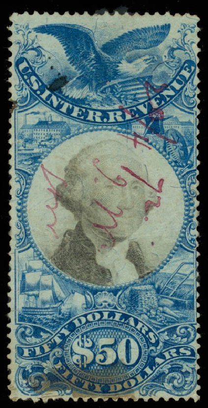 Price of US Stamp Scott Catalogue R131 - 1871 US$50.00 Revenue Documentary . Daniel Kelleher Auctions, Sep 2014, Sale 655, Lot 958