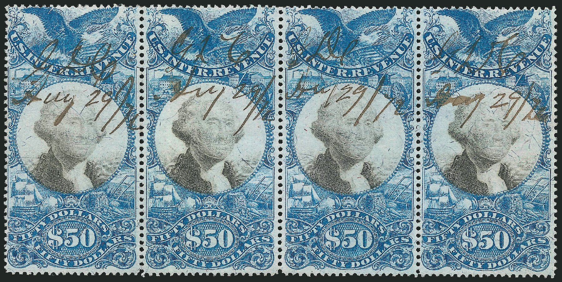 US Stamps Prices Scott Cat. #R131 - 1871 US$50.00 Revenue Documentary . Robert Siegel Auction Galleries, Dec 2014, Sale 1089, Lot 508
