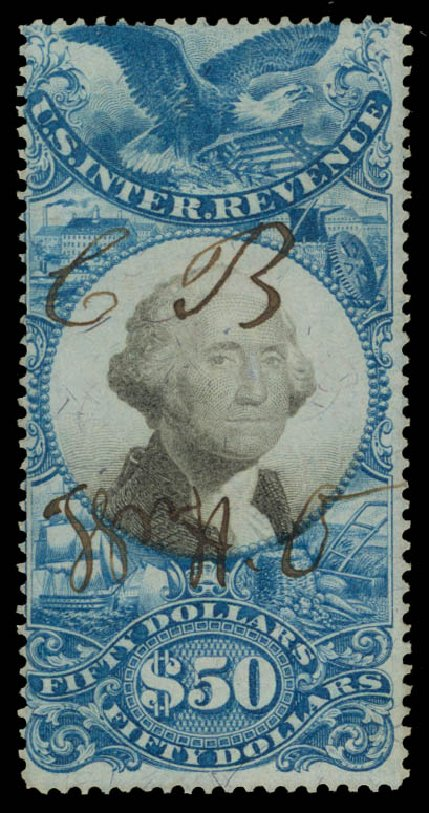 Price of US Stamps Scott Catalog #R131: 1871 US$50.00 Revenue Documentary . Daniel Kelleher Auctions, May 2015, Sale 665, Lot 179
