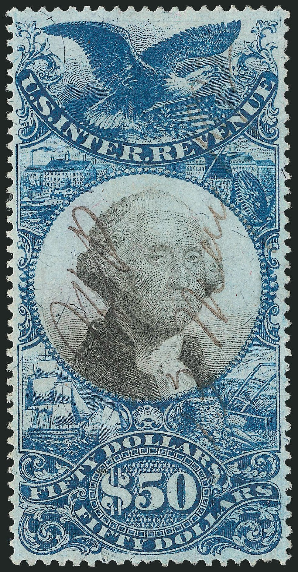 US Stamp Value Scott Catalogue R131: 1871 US$50.00 Revenue Documentary . Robert Siegel Auction Galleries, Dec 2014, Sale 1089, Lot 470