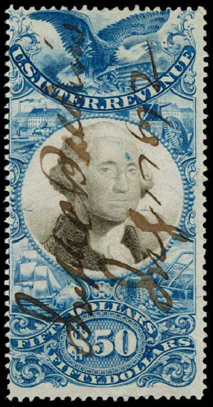 US Stamp Values Scott Cat. #R131: 1871 US$50.00 Revenue Documentary . Daniel Kelleher Auctions, Jun 2015, Sale 670, Lot 41