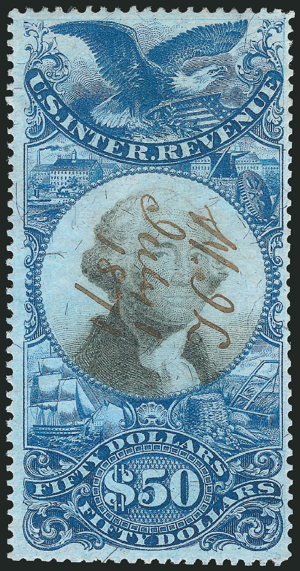 Values of US Stamps Scott Catalog R131 - 1871 US$50.00 Revenue Documentary . Robert Siegel Auction Galleries, Oct 2012, Sale 1031, Lot 1041