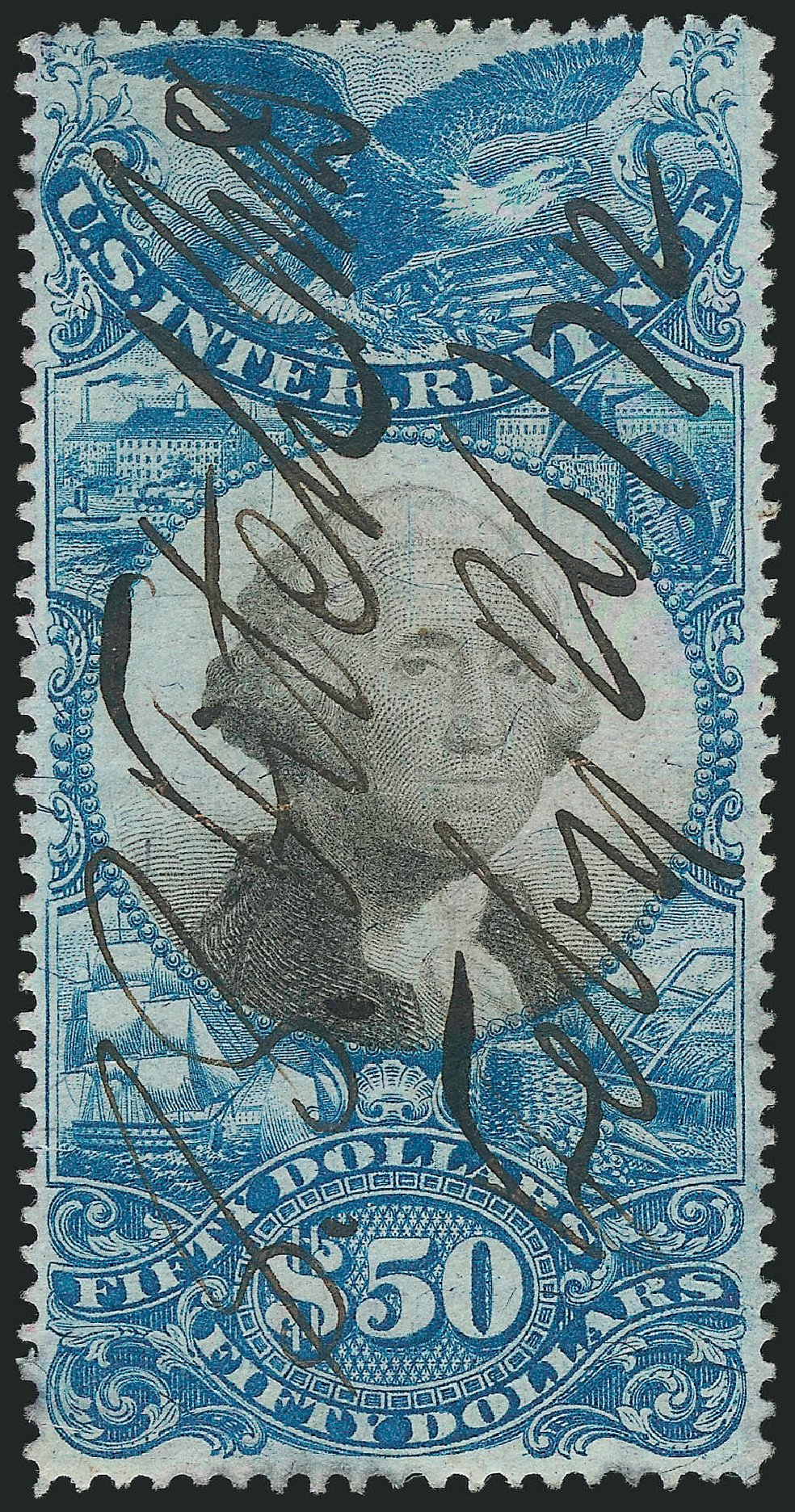 Value of US Stamp Scott Catalog # R131: 1871 US$50.00 Revenue Documentary . Robert Siegel Auction Galleries, Mar 2014, Sale 1067, Lot 554