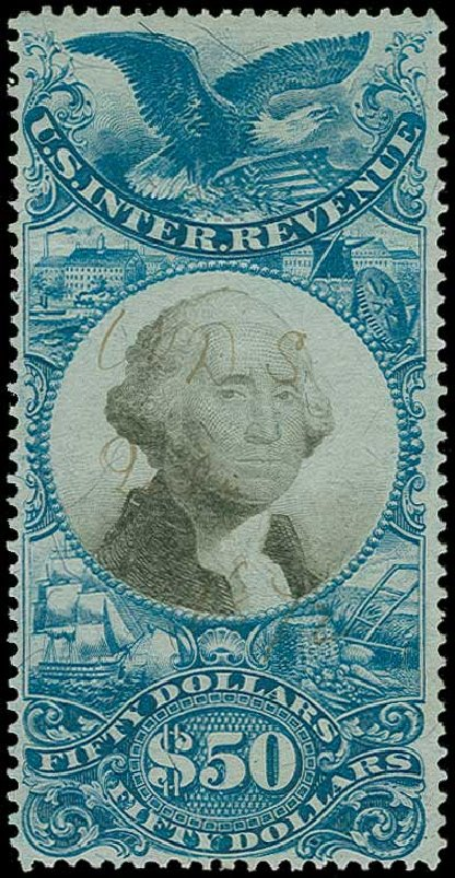 US Stamps Value Scott Catalog R131 - 1871 US$50.00 Revenue Documentary . H.R. Harmer, Jun 2015, Sale 3007, Lot 3552