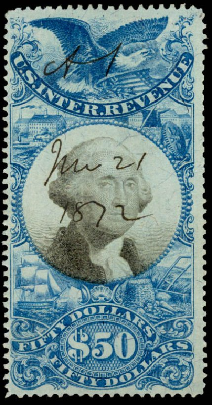 Prices of US Stamps Scott # R131 - US$50.00 1871 Revenue Documentary . Daniel Kelleher Auctions, Aug 2015, Sale 672, Lot 3082