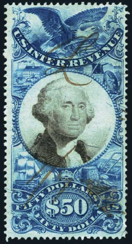 Prices of US Stamp Scott # R131: 1871 US$50.00 Revenue Documentary . Harmer-Schau Auction Galleries, Oct 2013, Sale 99, Lot 283