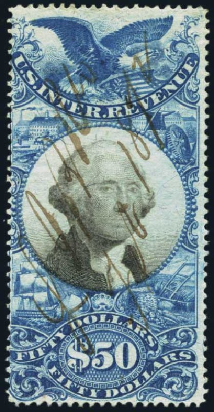 Price of US Stamp Scott Catalog R131: US$50.00 1871 Revenue Documentary . Harmer-Schau Auction Galleries, Jan 2014, Sale 100, Lot 716